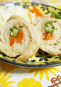 レンジで簡単☆鶏肉の野菜巻き焼き