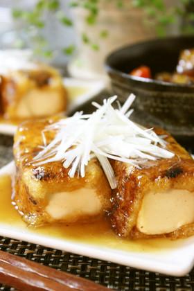 節約満足おかず*豆腐の揚げ巻き甘酢餡かけ
