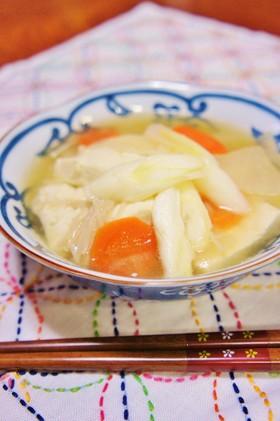 節約☆鶏皮で大根とねぎとお豆腐の味噌鍋
