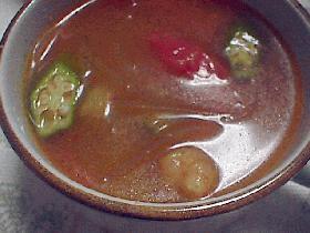 エビとトマトの辛~いスープ