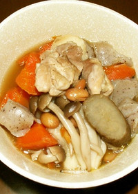 福豆と鶏肉根菜類の煮物
