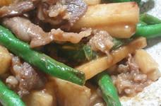 牛肉といんげん、山芋のこってり中華炒め
