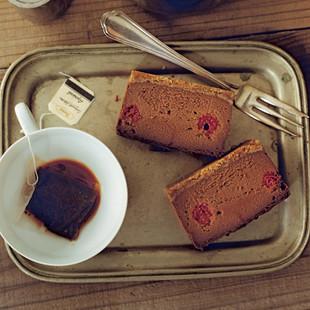チョコレートとラズベリーのチーズケーキ