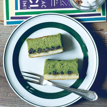 抹茶と甘納豆のスフレチーズケーキ