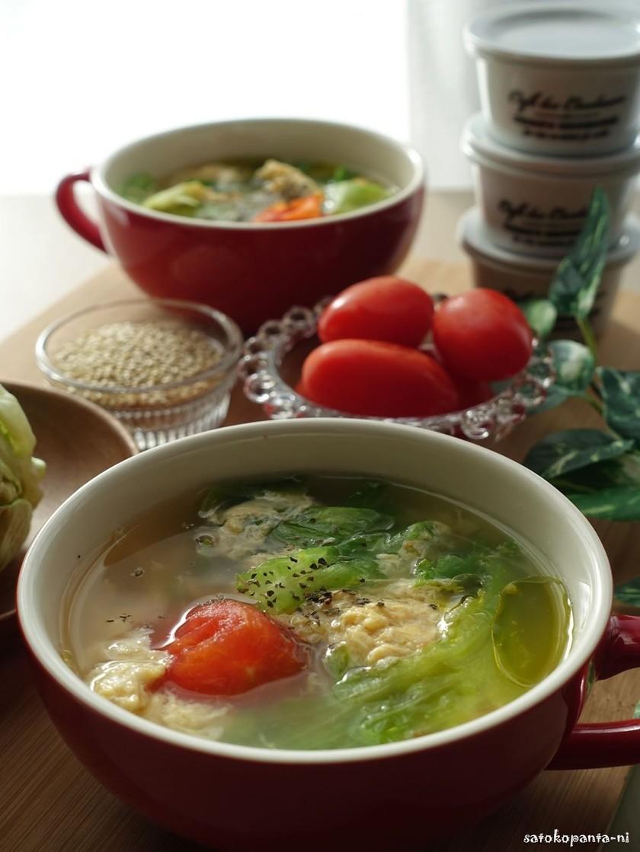 キヌアとトマト♪レタスのたまごスープ♪
