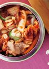 押し麦とキムチの豚キムチスープ