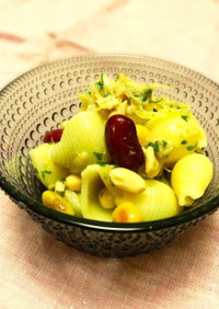 カラフルお豆とパスタの簡単サラダ