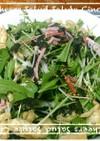 水菜と貝割れと油揚げのサラダ