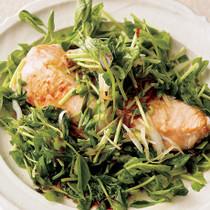 豆苗と鮭の香味蒸し