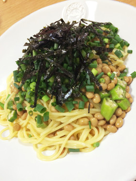 鎌倉風☆納豆とオクラのとろとろパスタ
