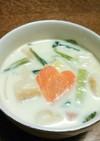 お麸と小松菜のミルクスープ