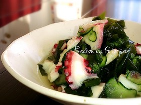 ✽定番副菜♡たこと胡瓜とわかめの酢の物