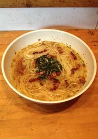 和風ペペロンチーノ風スープスパゲッティ