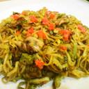 白ねぎ 豚肉 焼き中華麺