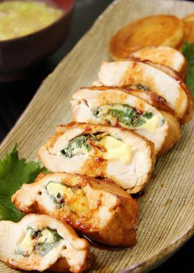 鶏胸肉の大葉チーズ挟み焼き