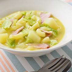 春キャベツとマカロニの簡単具沢山スープ