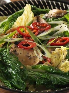 チアシードとマッシュルームの野菜炒め