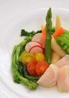 亜麻仁油で春野菜のおしゃれ帆立サラダ