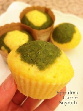簡単!にんじんとスピルリナの蒸しケーキ
