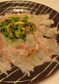 春の香り!鯛とせりのナムル風カルパッチョ