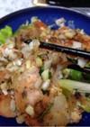 葱と米粉のガーリックシュリンプ
