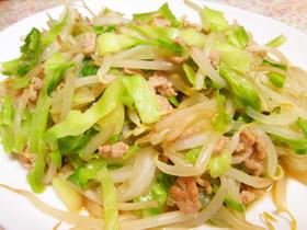 もやし・きゃべつ・豚挽肉のお手軽野菜炒め