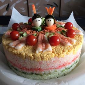 ケーキの型でおひなさま寿司