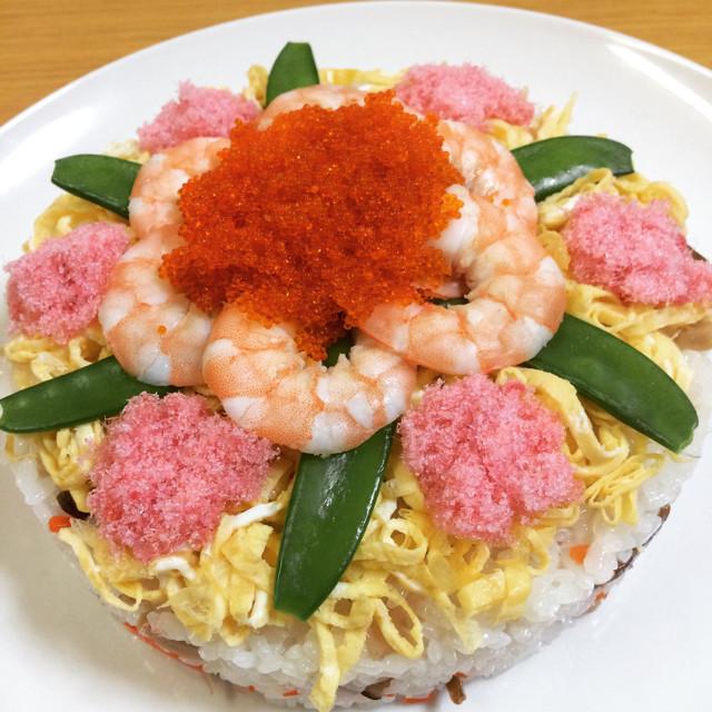市販の素で簡単ちらし寿司ケーキ!