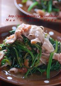 豚&ホウレン草の梅マヨ炒め