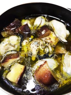 牡蠣と椎茸のアヒージョ