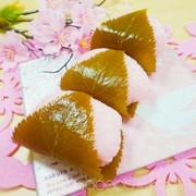 道明寺粉不使用!電子レンジで簡単本物桜餅の写真