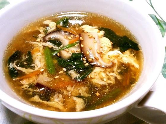 ◆具だくさん♪ほうれん草の中華スープ◆