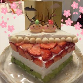 1歳の娘に♪離乳食♪食パンひな祭りケーキ