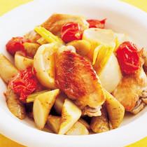 手羽中と根菜のミニトマト煮