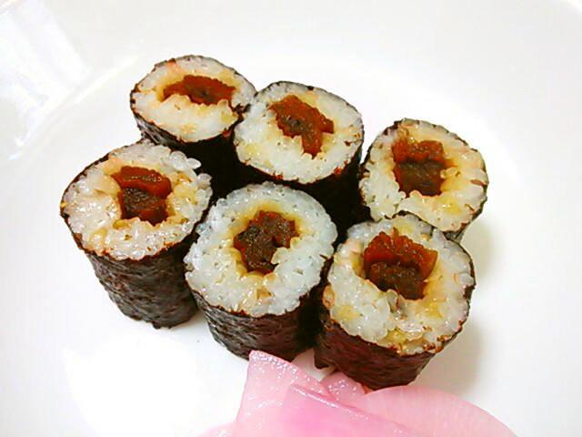 芋がら(ずいき)の海苔巻き(細巻き寿司)