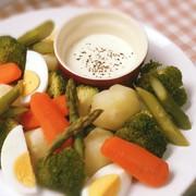 温野菜と簡単絶品チーズソースの写真