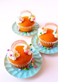 虹のカップケーキ