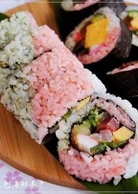 ひな祭りカラー❀三色海鮮巻き寿司