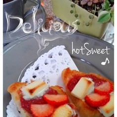 苺と焼チョコ クロワッサンで時短スイーツ