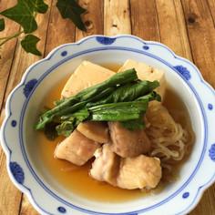 レンジで節約ヘルシー*白滝たっぷり鶏豆腐