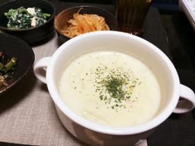 体喜ぶ、ゴーヤのワタとエノキの豆乳スープ