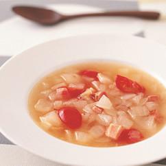 新たまねぎとベーコンのスープ