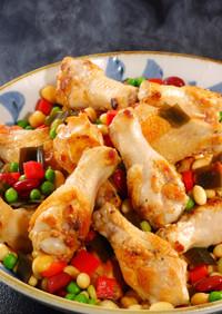 大豆と鶏手羽元の煮物