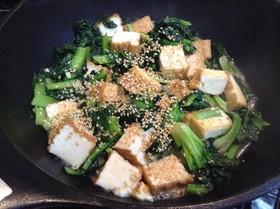ターサイと厚揚げのにんにく塩麹炒め