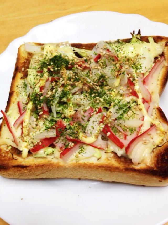 お好み焼き風☆かにかまチーズトースト