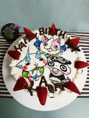 オブラートでキャラケーキの写真