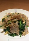 菜の花と豚肉のマヨ玉チャンプル