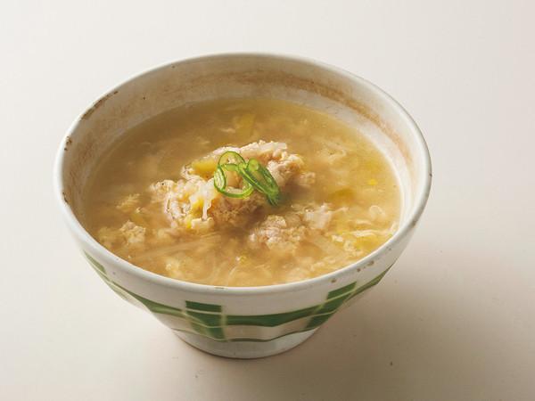 鶏ひき肉とネギのレモン風味スープ
