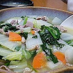 白菜&豚肉&残り野菜で!あったかスープ煮