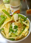 最速のわけぎと焼き油揚げのサラダ